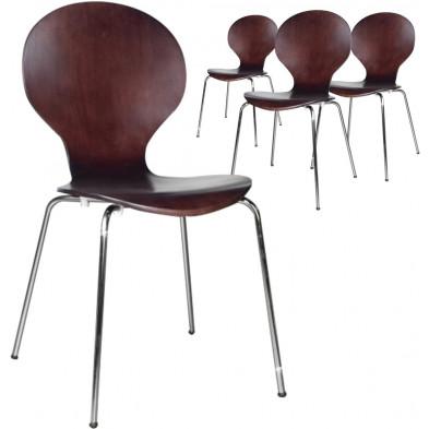 Lot de 4 chaises design en bois et métal coloris marron L. 85 x H. 50 cm collection Schendelbeke