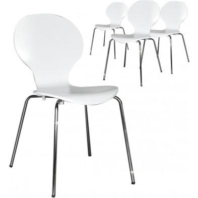 Lot de 4 chaises design en bois et métal coloris blanc L. 85 x H. 50 cm collection Schendelbeke