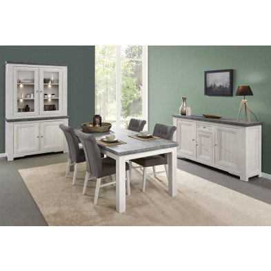 Salle à manger complète classique coloris chêne blanc en bois massif et panneaux de particules Collection Lamas