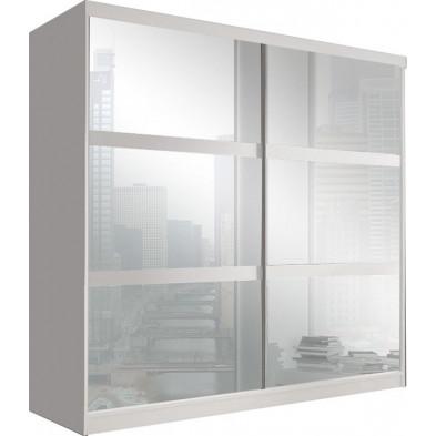 Armoire porte coulissante blanc design en panneaux de particules de haute qualité L. 203 x P. 61 x H. 218 cm collection Elisa