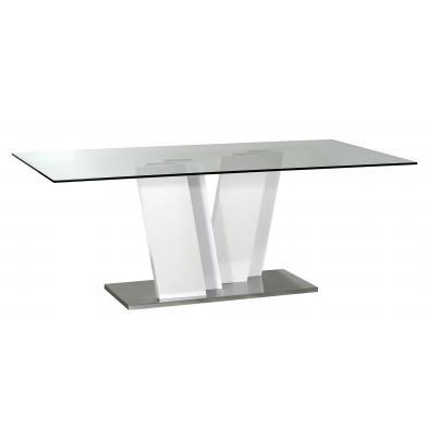 Table blanc design en panneaux de particules de haute qualité L. 200 x P. 100 x H. 76 cm collection Strike