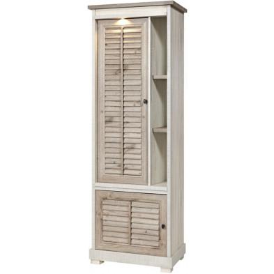Argentier - meuble bar contemporain blanc et gris en bois MDF et panneaux de particules mélaminés L. 74.6 x P. 50 x H. 208.8 cm Collection Stockingford