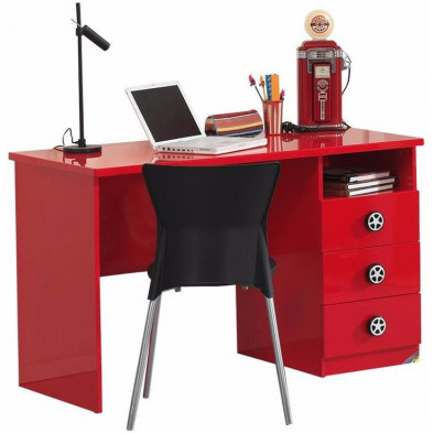Bureau enfant rouge design en bois mdf L. 120 x P. 60 x H. 74 cm collection Huon