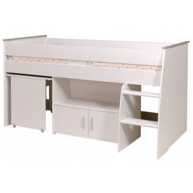 Lit combiné 90x200 cm contemporain blanc en panneaux de particules de haute qualité Collection Equal