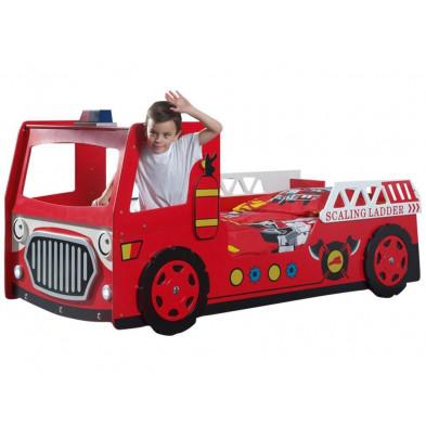 Lit voiture rouge design en bois mdf L. 223 x P. 101 x H. 101 cm collection Huon