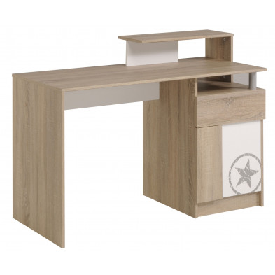 Bureau contemporain beige L. 123 x P. 55 x H. 91 cm Collection Cadandrea