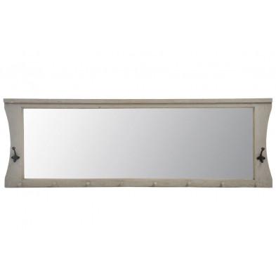 Miroir avec porte-manteau coloris gris clair en bois massif collection Comeaux
