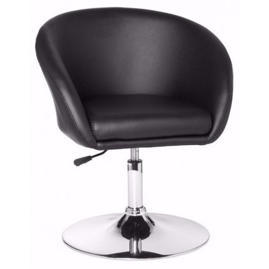 Fauteuil moderne noir design en pvc 1 place L. 55 x P. 62 x H. 72 - 84 cm collection Mosinee