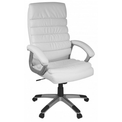 Chaise et fauteuil de bureau blanc design en PVC H.115-125 x L.60 x P.60 cm collection Roseville
