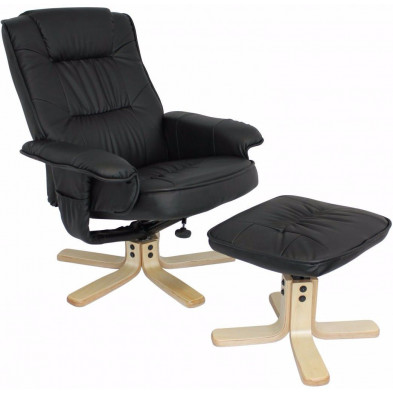 Fauteuil relax noir design en PVC 1 place L. 70 x P. 80 x H. 100 cm collection Ariz