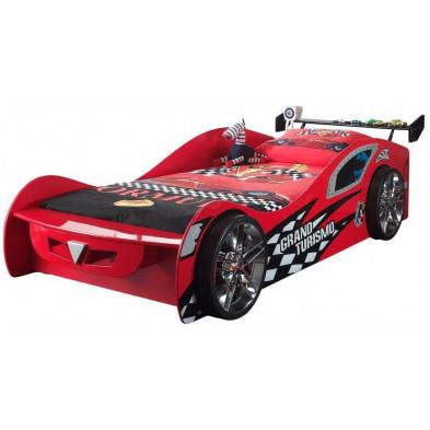 Lit voiture rouge design en bois mdf L. 246 x P. 111 x H. 66 cm collection Huon
