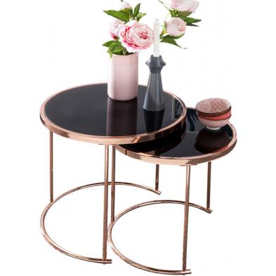 Table d'appoint noir design en acier L. 45 x P. 45 x H. 50 cm collection Mullheim
