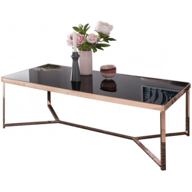 Table basse en verre noir design en acier L. 120 x P. 60 x H. 60 cm cm collection Mullheim