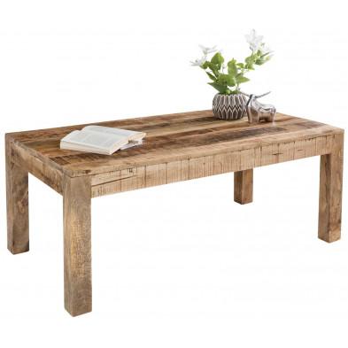 Table basse en bois marron vintage en bois massif manguier L. 110 x P. 60 x H. 47 cm collection Vankoot