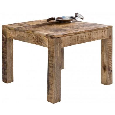 Table basse en bois marron vintage en bois massif manguier L. 60 x P. 60 x H. 47 cm collection Vankoot