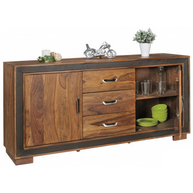 Buffet - bahut - enfilade contemporain en bois massif marron L. 160 x P. 44 x H. 80 cm collection Wyns
