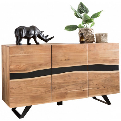 Buffet - bahut - enfilade contemporain en bois massif acacia marron L. 148 x P. 43 x H. 85 cm collection Overstreet