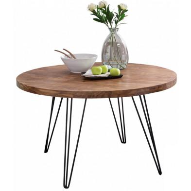 Table de salle à manger en bois massif marron rustique en acier L. 120 x P. 78 x H. 73 cm collection Wols