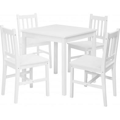 Ensembles tables & chaises blanc contemporain en bois massif L. 70 x P. 70 x H. 73 cm collection Bulgarograbo