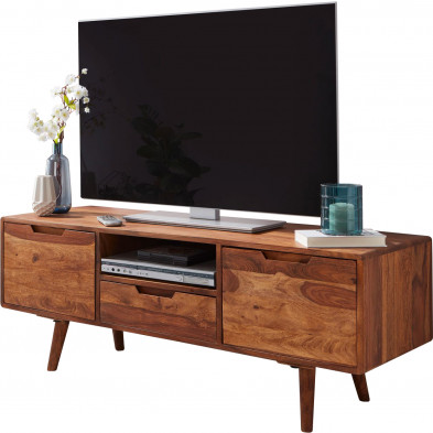 Meuble tv design marron rustique en acier L. 135 x P. 45 x H. 51 cm collection Yuna
