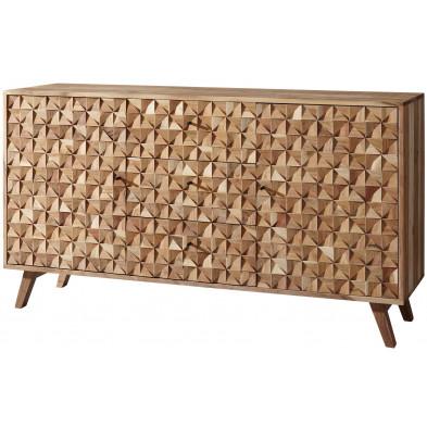 Buffet - bahut - enfilade en bois massif marron rustique en bois massif acacia L. 140 x P. 40 x H. 78.5 cm collection Bishopton
