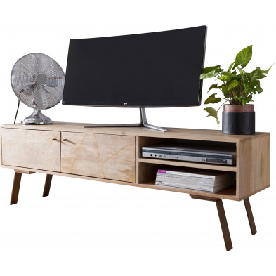 Meuble tv design marron rustique en acier L. 145 x P. 35 x H. 47 cm collection Carinola