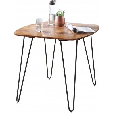 Table de salle à manger en bois massif marron rustique en acier L. 80 x P. 80 x H. 76 cm collection Creuzburg