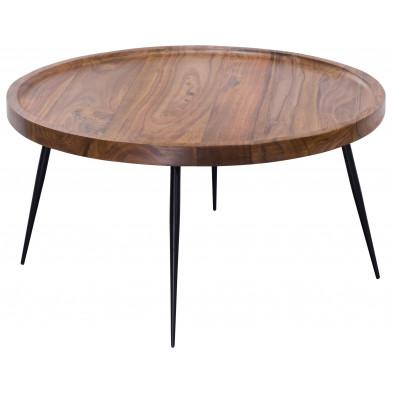 Table basse en bois marron rustique en acier L. 75 x P. 75 x H. 39 cm collection Capecoral