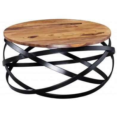 Table basse en bois marron rustique en acier L. 60 x P. 60 x H. 30 cm collection Fotia