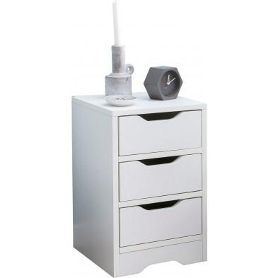 Chevet enfant blanc design en panneaux de particules mélaminés de haute qualité L. 31 x P. 31 x H. 49 cm collection Phatur
