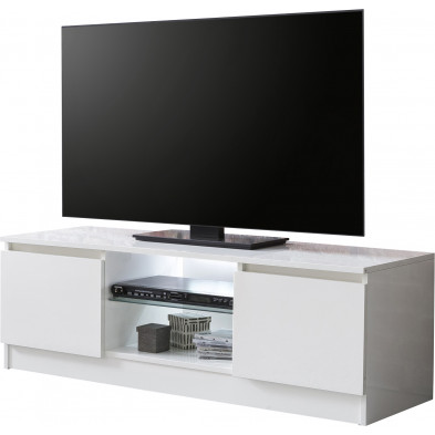 Meuble TV blanc design en bois mdf 120 cm de largeur L. 120 x P. 39 x H. 40 cm collection Schouten