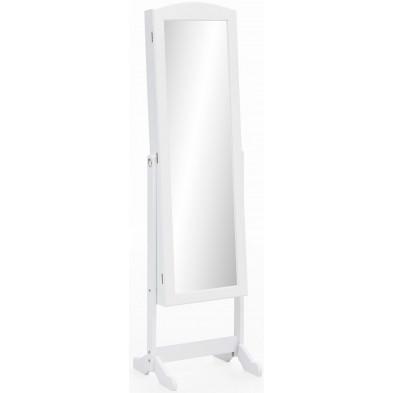 Miroir blanc romantique en bois mdf L. 42 x P. 38 x H. 156 cm collection Stimulating