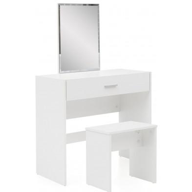 Commode - coiffeuse blanc design en miroir L. 81 x P. 39 x H. 131 cm collection Sylvain