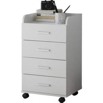 Caisson bureau blanc design en bois mdf L. 40 x P. 33 x H. 70.5 cm collection Oostdam