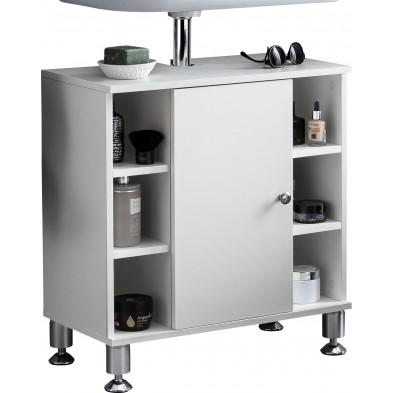 Meuble sous vasque blanc design en panneaux de particules mélaminés de haute qualité L. 60 x P. 32 x H. 64 cm collection Imthorn