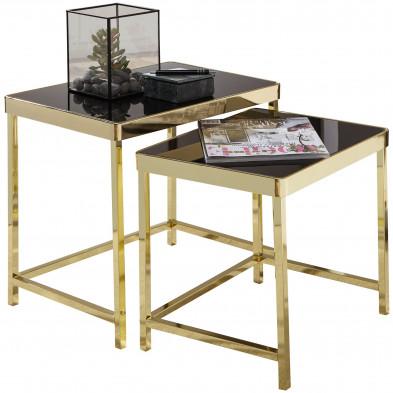 Ensemble de 2 tables gigognes design plateau en verre trempé noir sécurit et structure en acier coloris doré L. 48-42 x P. 36-34 x H. 46-40 cm collection C-Zabric