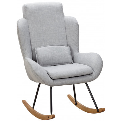 Fauteuil relax gris scandinave en pu L. 75 x P. 85.5 x H. 110 cm collection Vandervelden