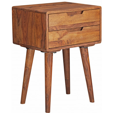 Chevet - table de nuit marron rustique en bois massif sheesham L. 47 x P. 36 x H. 66 cm collection Hooijmaijers
