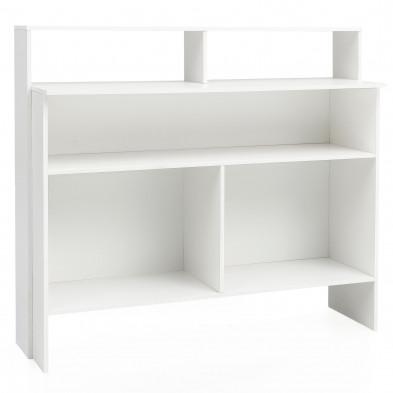 Meuble de rangement blanc design en panneaux de particules mélaminés de haute qualité L. 130 x P. 40 x H. 120 cm collection Crezee