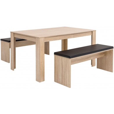 Ensemble Table à manger avec 2 bancs en coloris chêne Sonoma collection C-Mazuret  140 x 76 x 90 cm