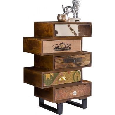 Commode et bibliothèque vintage en bois marron avec piètement en acier  L. 57 x P. 37 x H. 87 cm collection Perihan