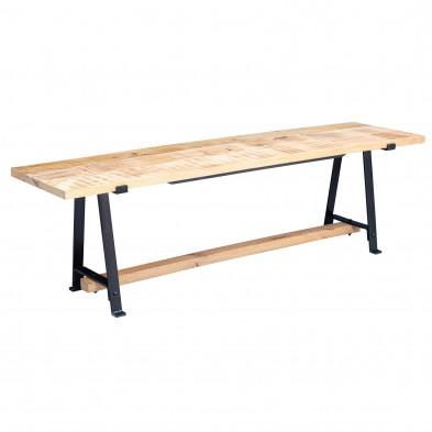 Bancs & banquettes de salle à manger marron industriel en acier inoxydable et bois massif manguier L. 160 x P. 42 x H. 47 cm collection Hazenberg