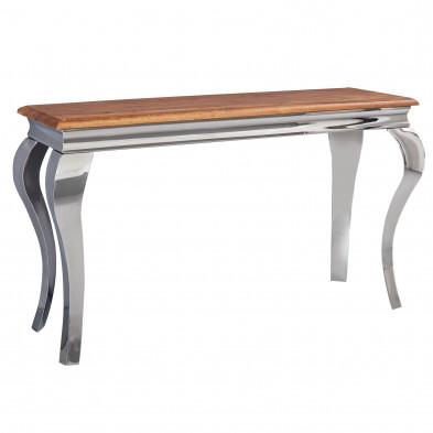 Table console marron moderne en acier inoxydable poli et bois massif sheesham L. 130 x P. 42 x H. 76,5 cm  collection Libra