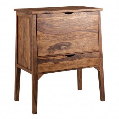 Commode marron rustique en acier et bois massif sheesham L. 90 x P. 56 x H. 107 cm collection Luther