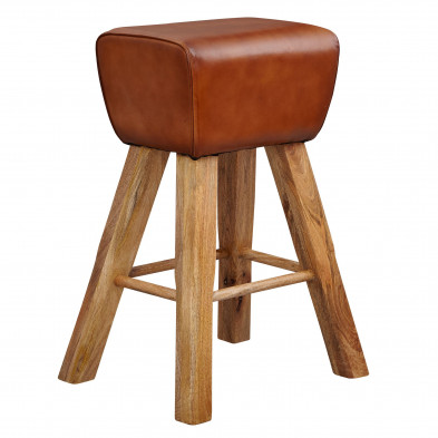 Tabouret de bar marron moderne en bois massif manguier et cuir véritable  L. 43 x P. 43 x H. 75 cm  collection Kanon