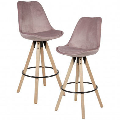 Tabouret de bar rose scandinave en bois massif hevea et velours  L. 44 x P. 39 x H. 113 cm collection Hempenius
