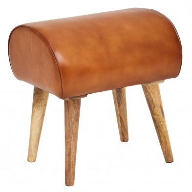 tabouret marron design en bois massif manguier et cuir véritable L. 45 x P. 40 x H. 53 cm  collection Bergstrom