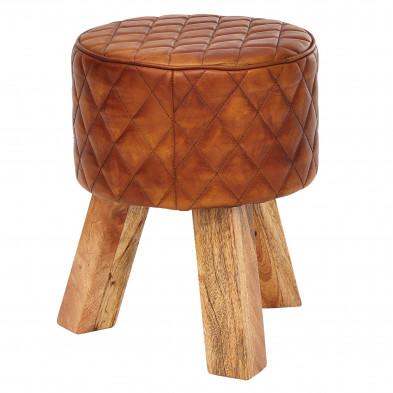 Pouf et tabouret marron moderne en bois massif manguier et cuir véritable L. 35 x P. 35 x H. 46 cm collection Radwa