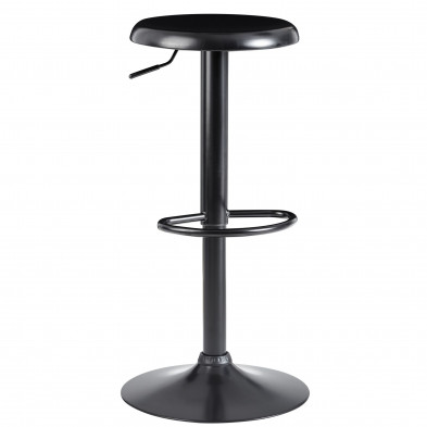 Tabouret de bar design en acier noir L. 40 x P. 40 x H. 58-79 cm collection Cornet