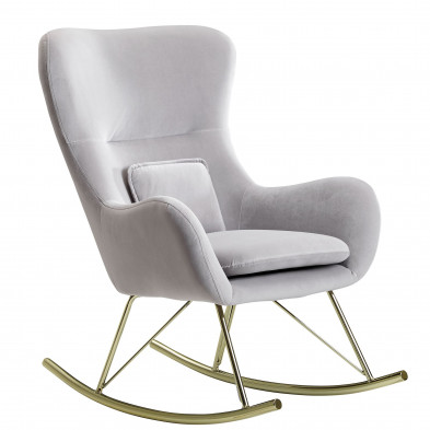 Fauteuil à bascule design en velours gris L. 74 x P. 89 x H. 101 cm collection Jenner